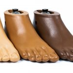 Foot shells are offered in (left to right) buff, tan, and medium brown.